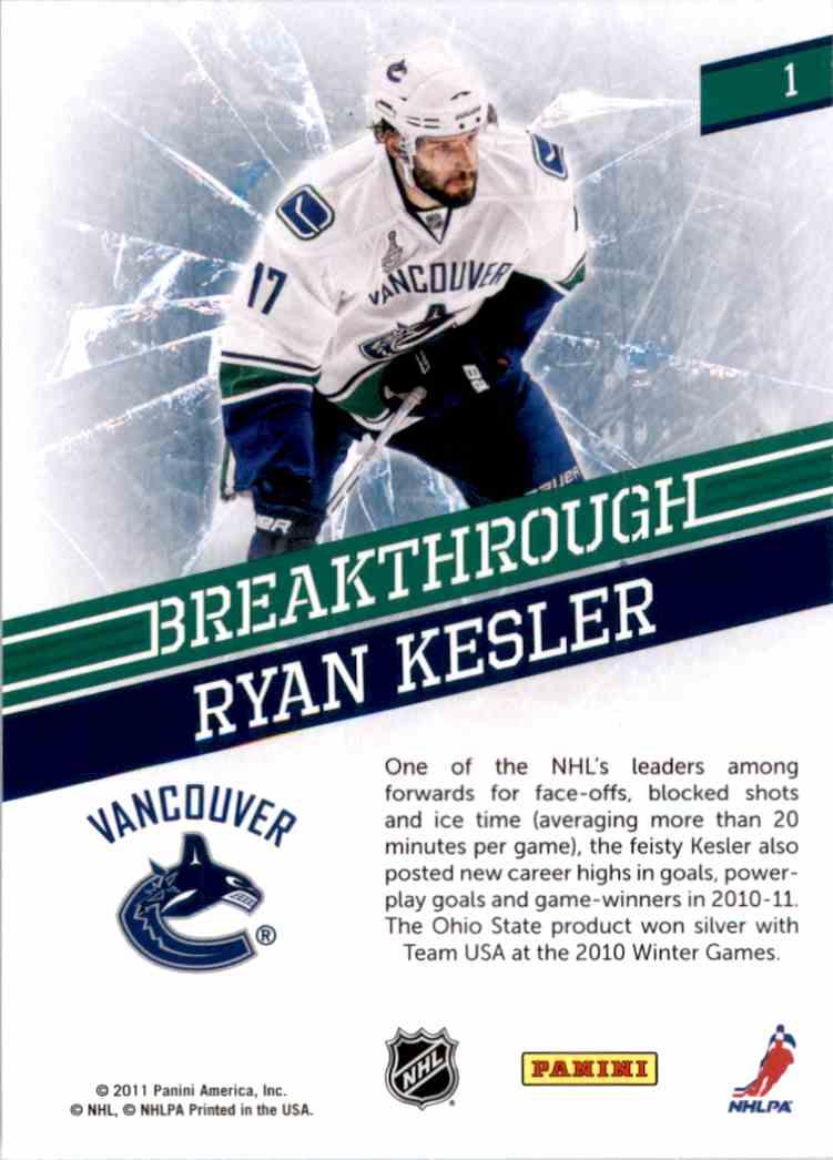 2011-12 Pinnacle Breakthrough Ryan Kesler #1 card back image
