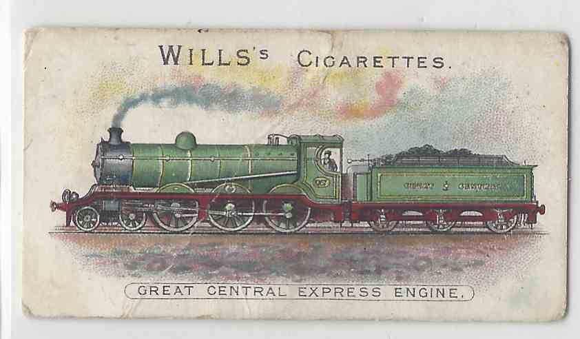 1901 Will's Locomotives & Rolling Stock Great Central Express Engine #NON card front image