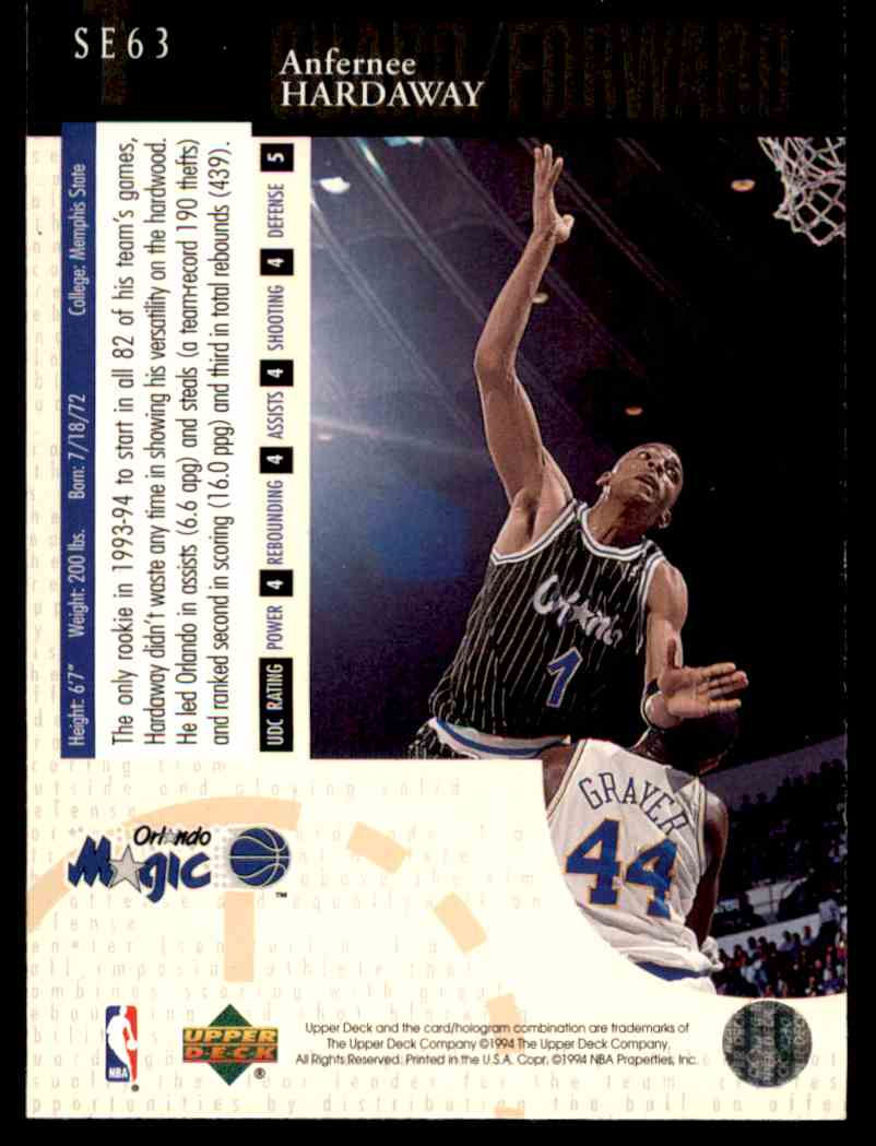 1994-95 UD Special Edition Anfernee Hardaway #SE63 card back image