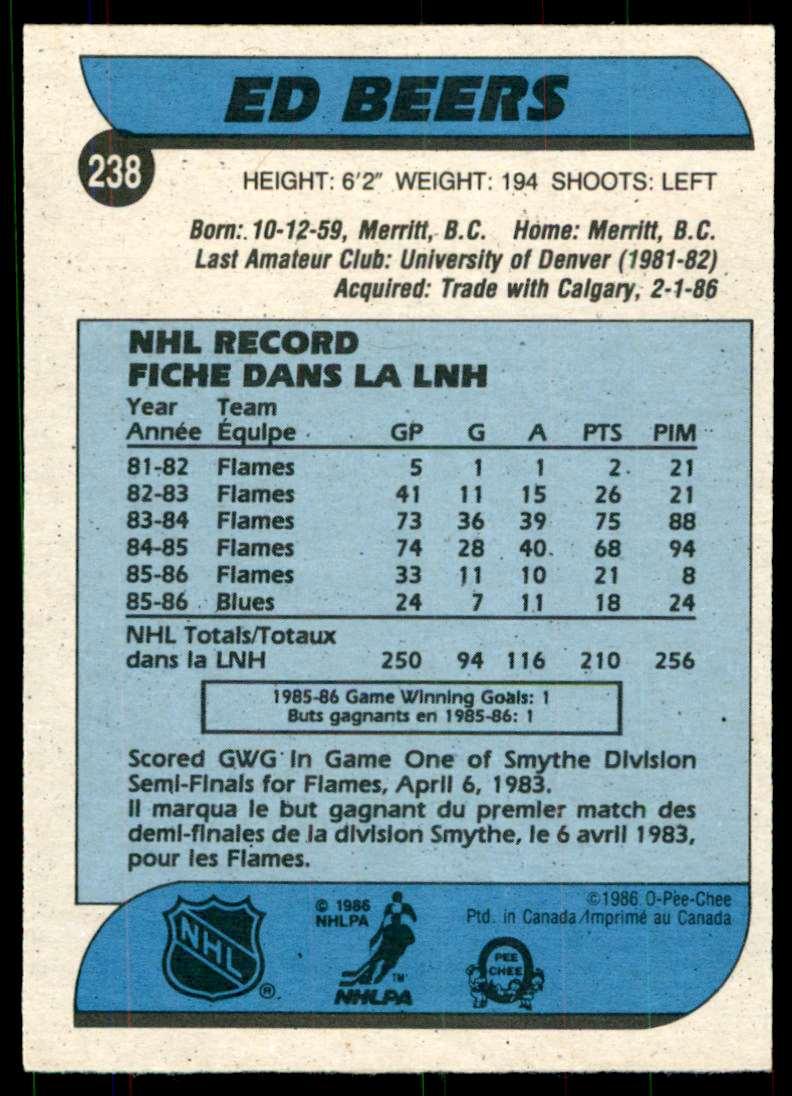 1986-87 OPC Ed Beers #238 card back image