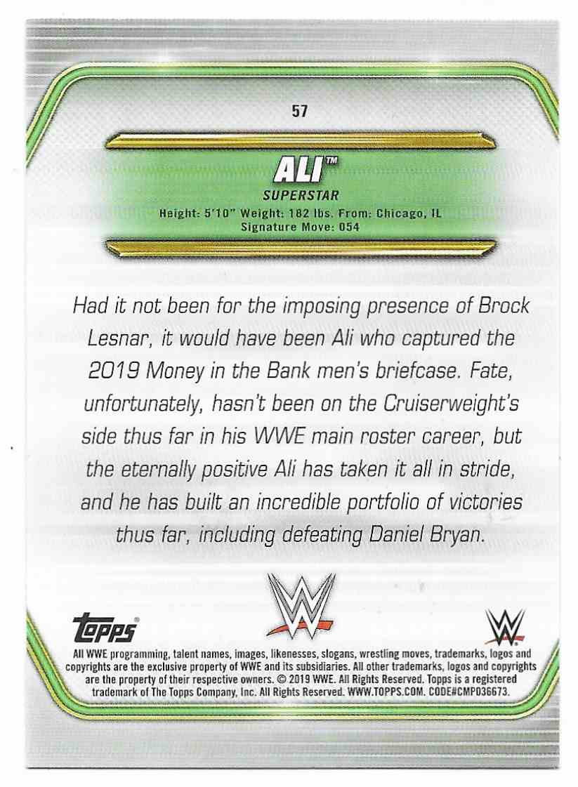 2019 Topps Wwe Money In Then Bank Ali #57 card back image