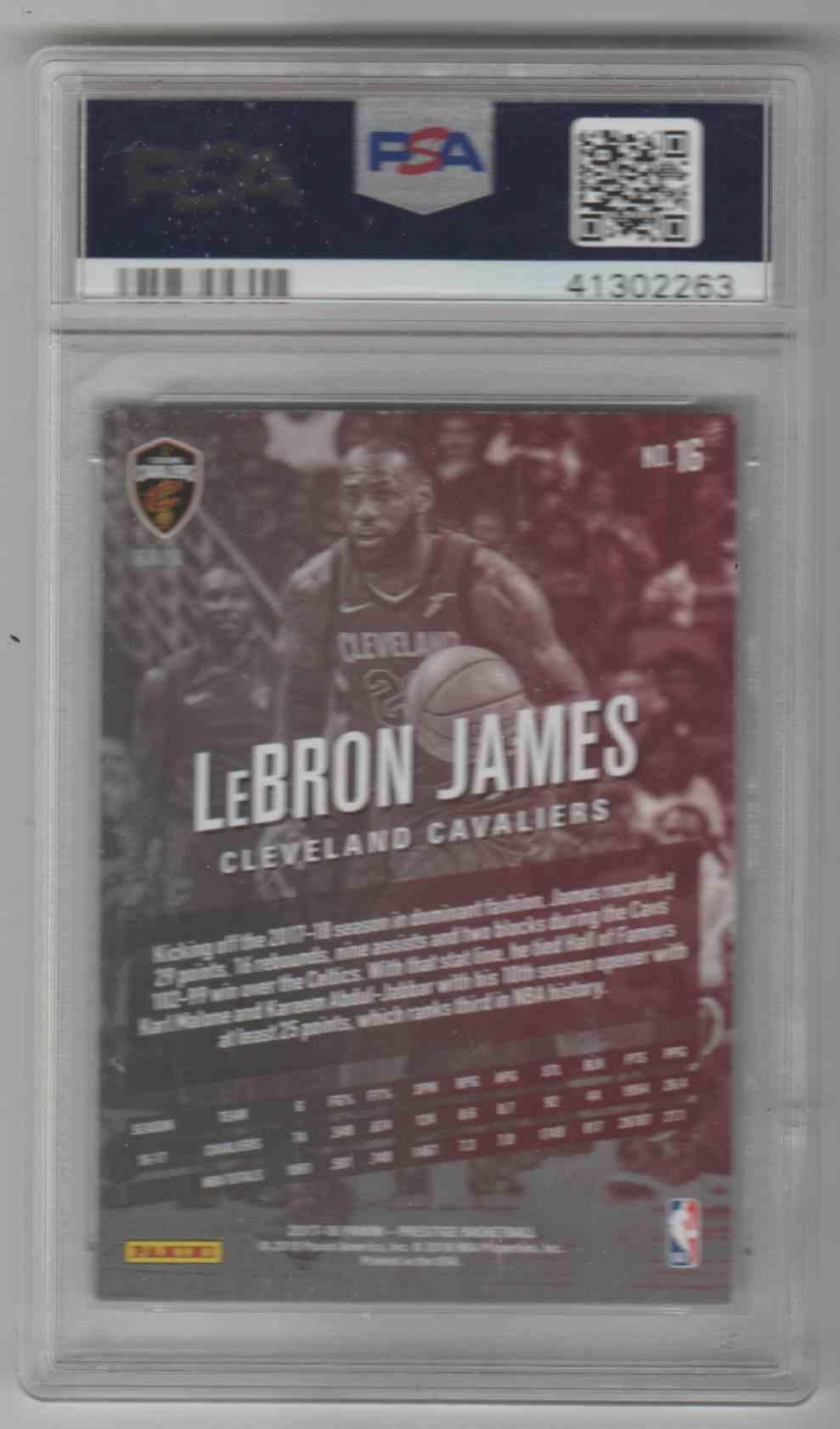 2017-18 Panini Presitge LeBron James #16 card back image