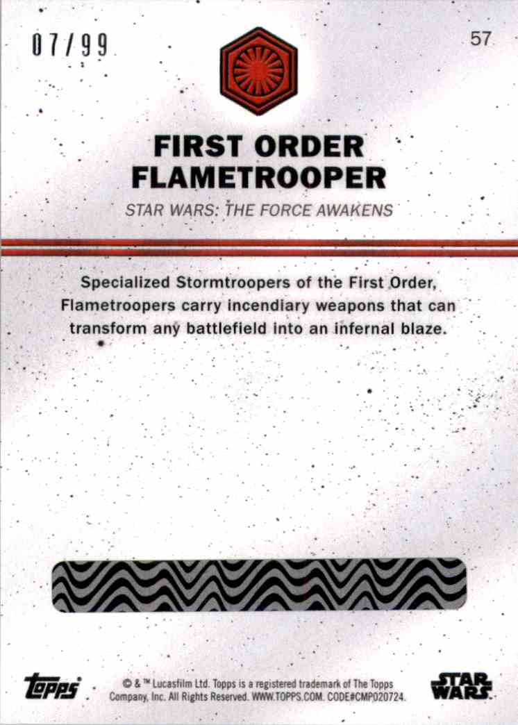 2016 Star Wars Card Trader Green First Order Flametrooper #57 card back image