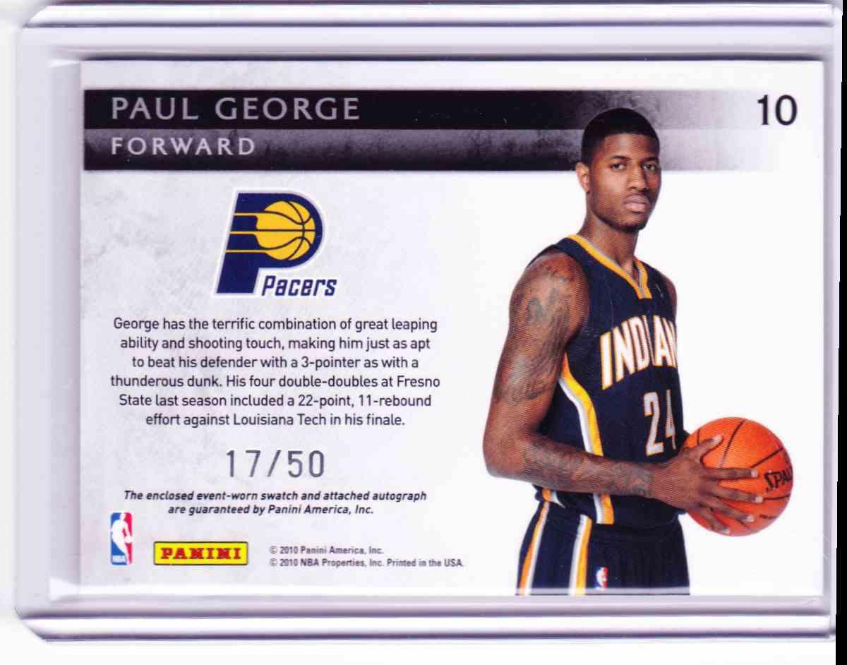2010-11 Panini Threads Paul George card back image
