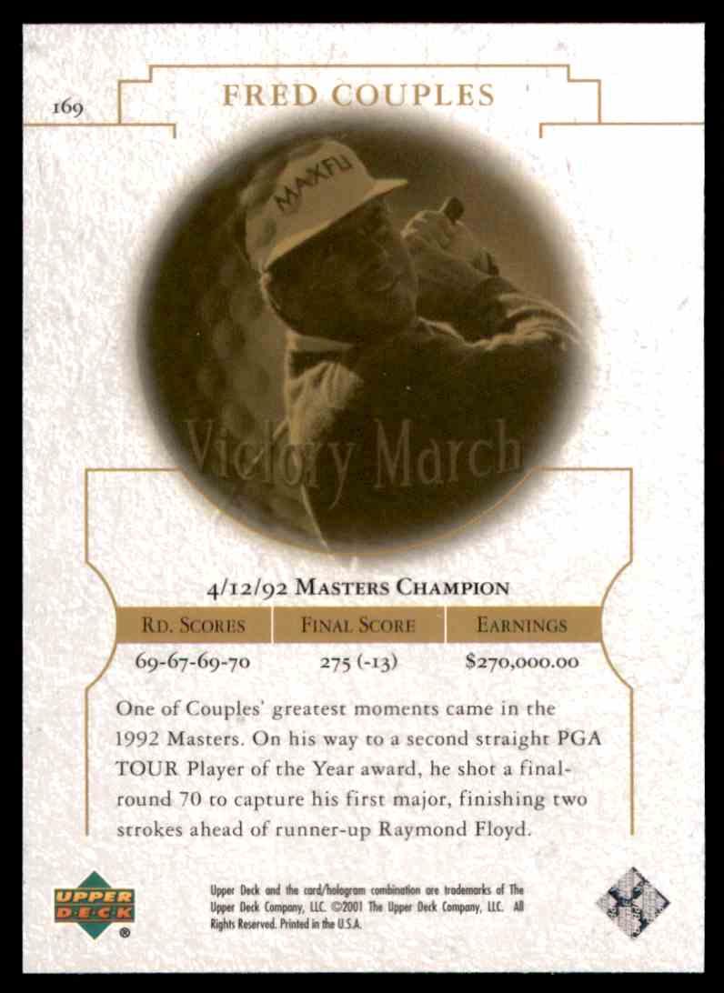 2001 Upper Deck Fred Couples VM #169 card back image