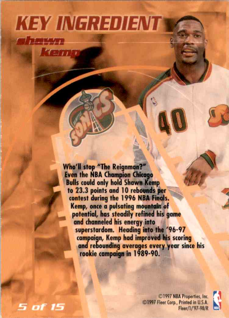 1997-98 Fleer Key Ingredient Shawn Kemp #5 card back image