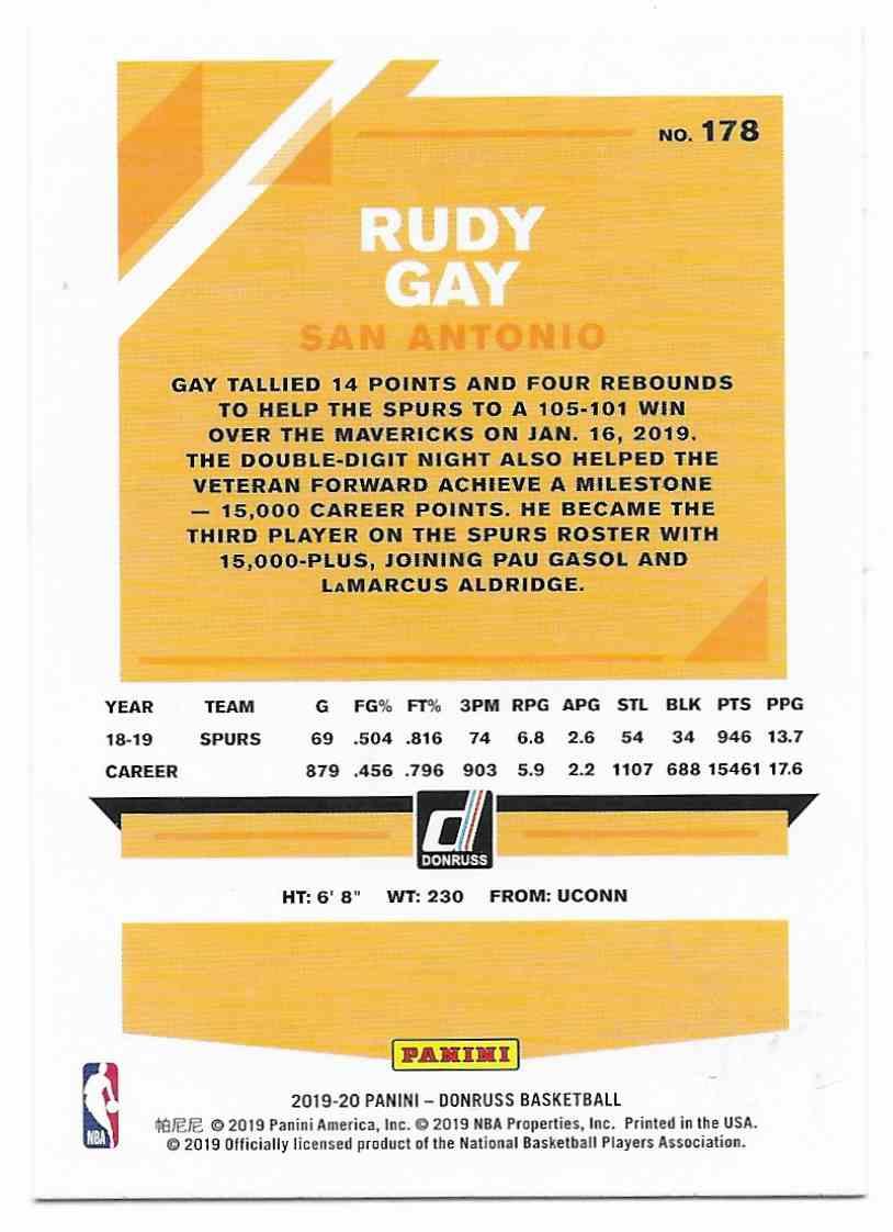 2019-20 Donruss Rudy Gay #178 card back image