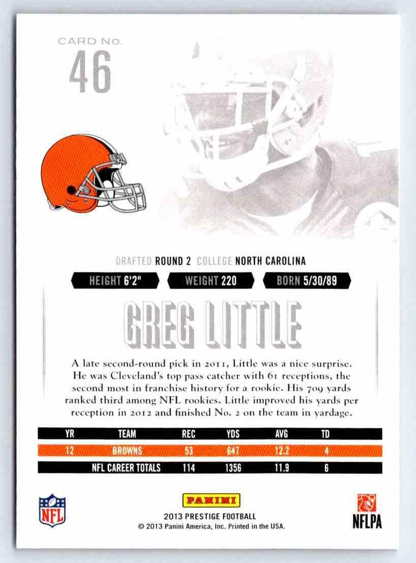 2013 Prestige Greg Little #46 card back image