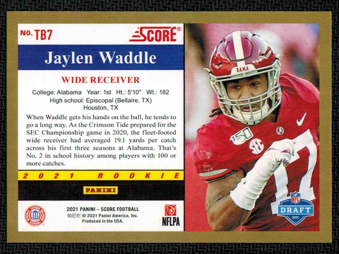 2021 Panini Score Jaylen Waddle #TB7 card back image