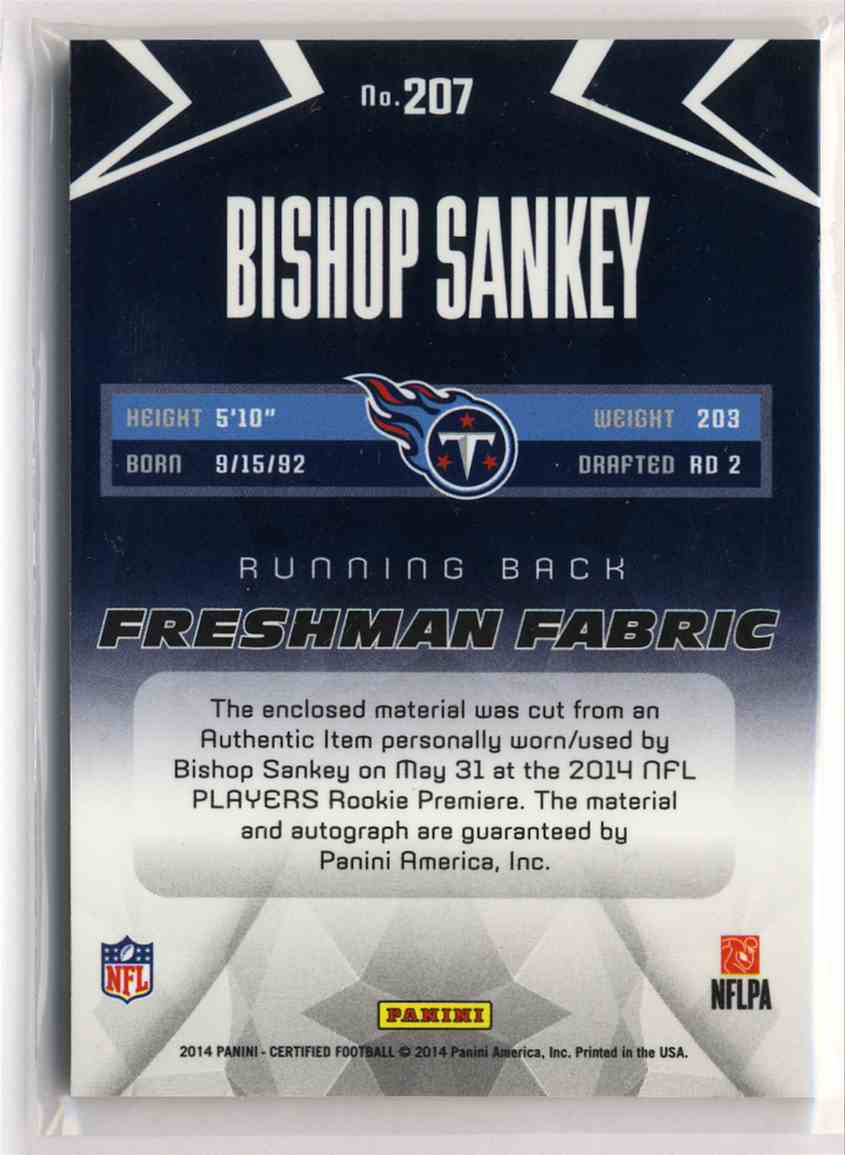 2014 Panini Certified Freshman Fabric Mirror Signatures Red Bishop Sankey #207 card back image