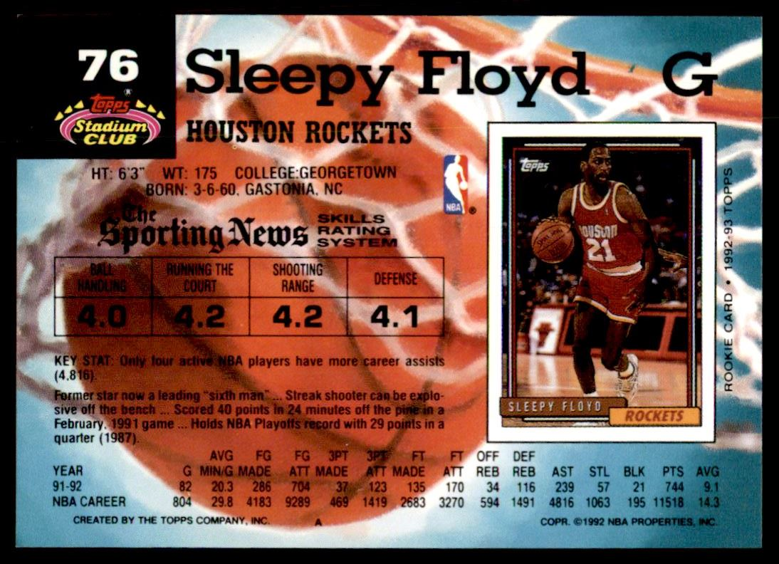 1992 93 Topps Stadium Club Main Set Sleepy Floyd 76 on Kronozio