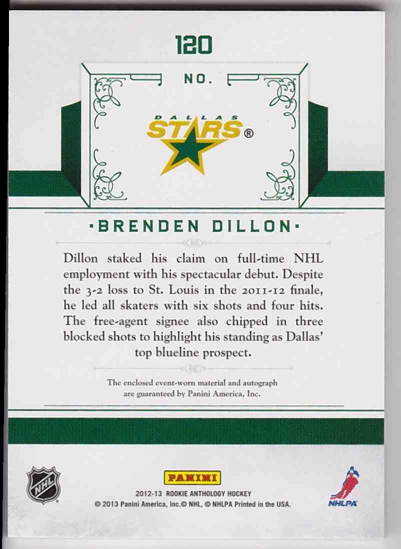 2012-13 Panini Rookie Anthology Rookie Treasures Brendan Dillon #120 card back image
