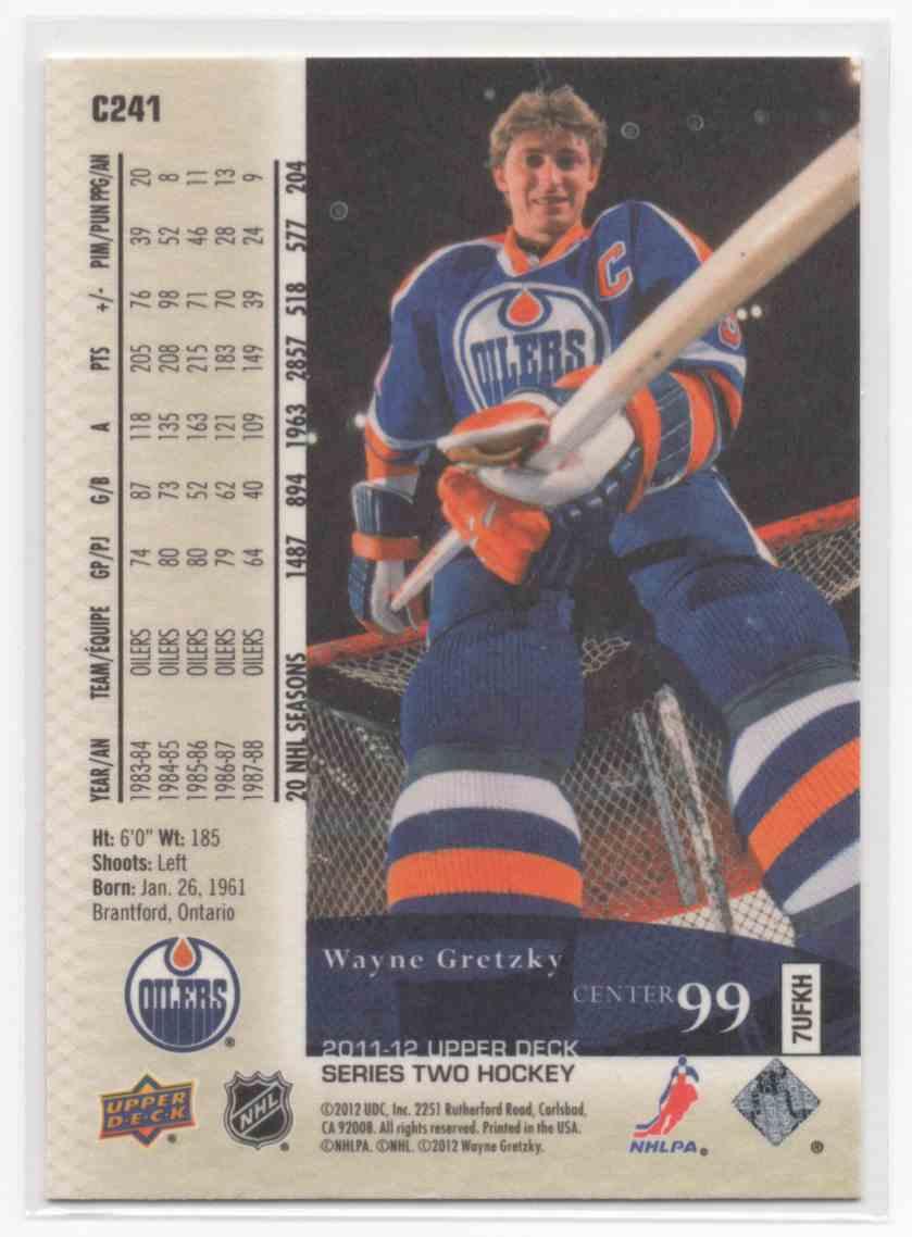 2011-12 Upper Deck Canvas Retired Stars Wayne Gretzky #C241 card back image