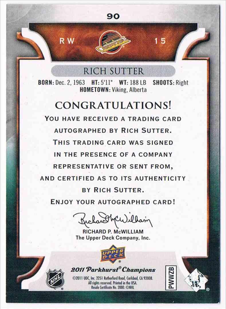 2011-12 Parkhurst Champions Autographs Rich Sutter #90 card back image