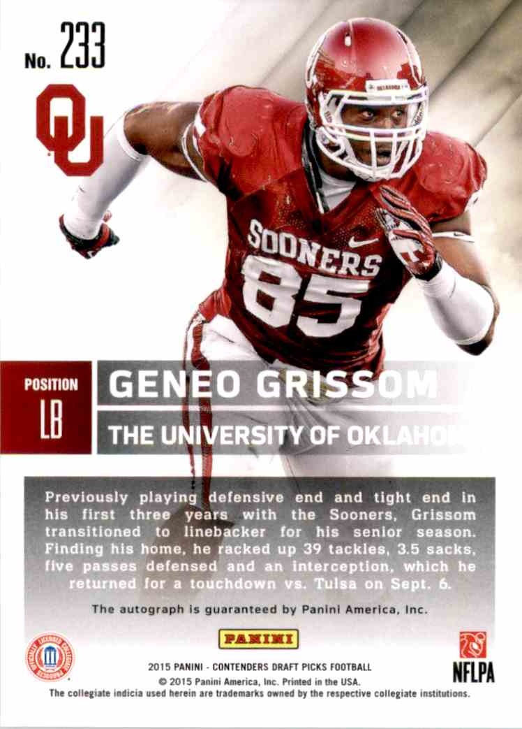 2015 Panini Contenders Draft Picks College Draft Ticket Blue Foil Geneo Grissom Au RC #233 card back image