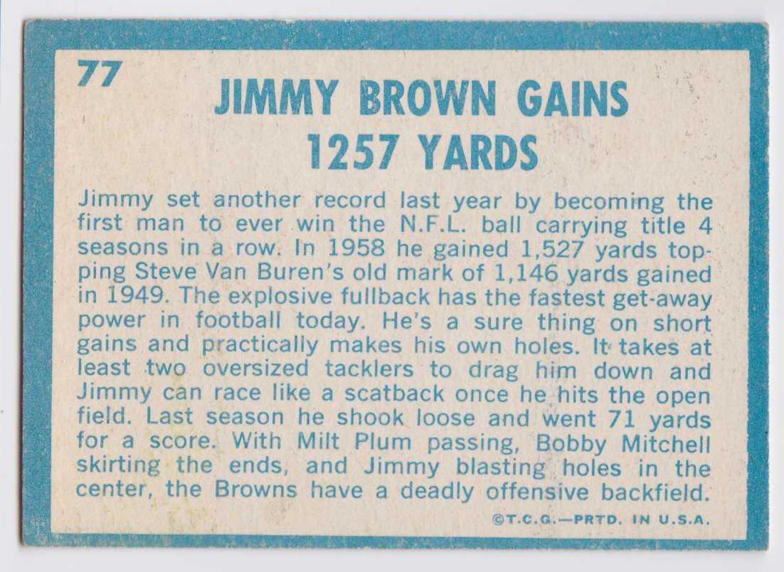1961 Topps Jimmy Browns #77 card back image