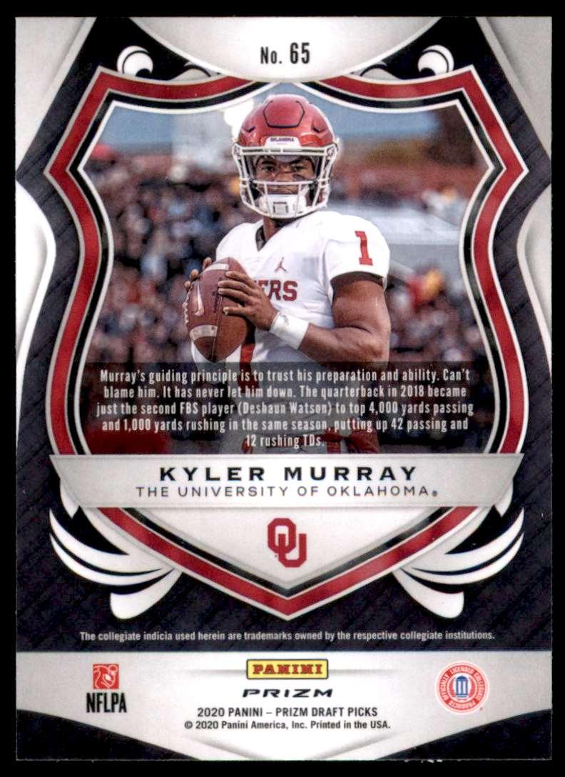 2020 Panini Prizm Draft Picks Prizms Silver Kyler Murray C #65 card back image