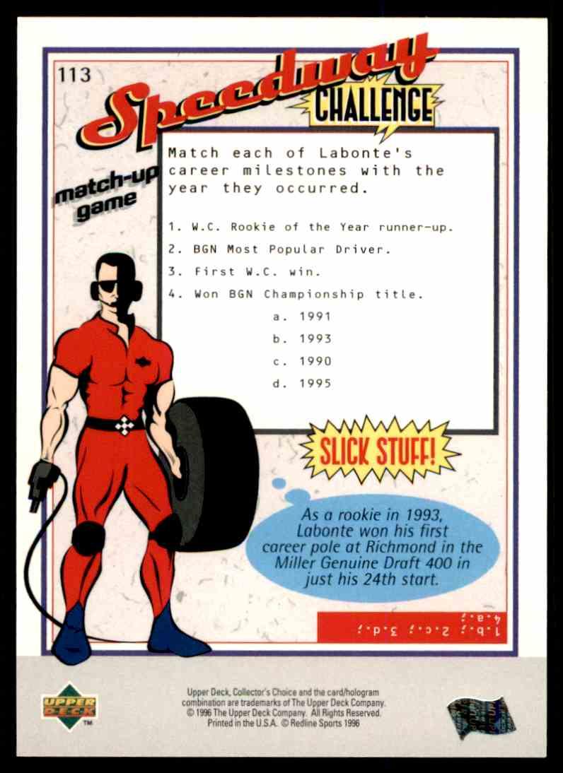 1996 Upper Deck Bobby Labonte #113 card back image