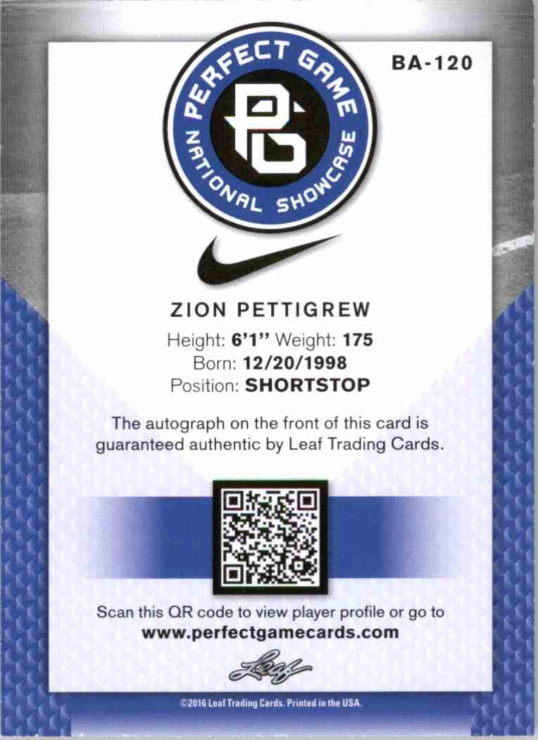 2016 Leaf Perfect Game Gold Zion Pettigrew #BA-120 card back image
