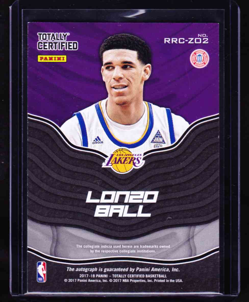 2017-18 Panini Totally Certified Lonzo Ball card back image