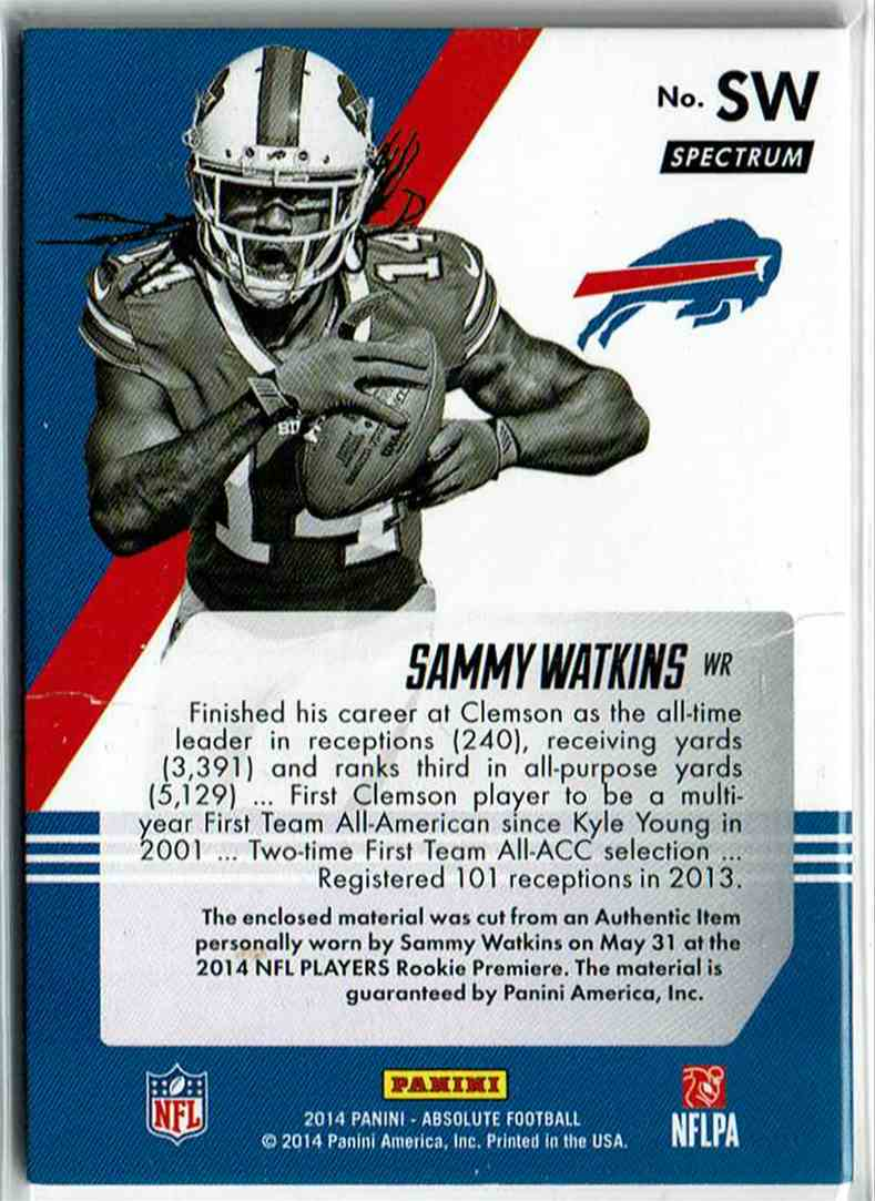 2014 Panini Playoff Absolute Tools Of The Trade Complete Rookies Spectrum Silver Sammy Watkins #SW card back image