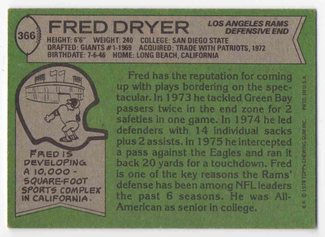 1978 Topps Fred Dryer #366 card back image