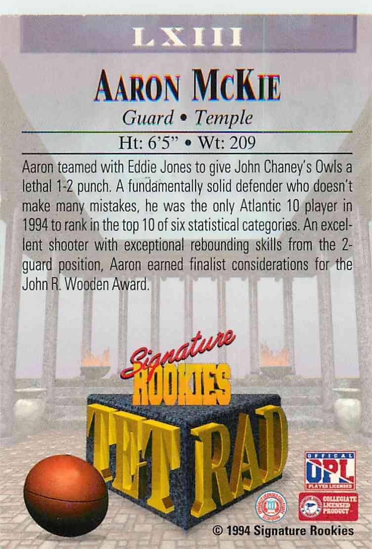 1994-95 Signature Rookies Aaron Mckie #LXIII card back image