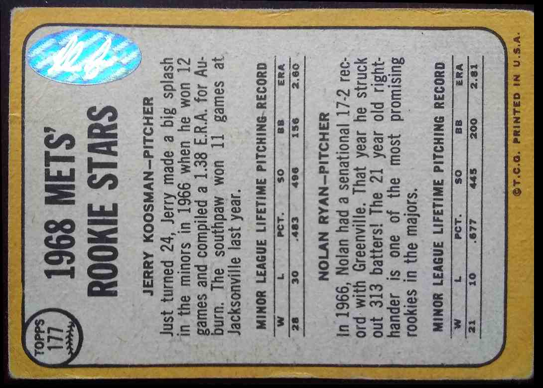 1968 Topps Jerry Koosman Nolan Ryan #177 card back image
