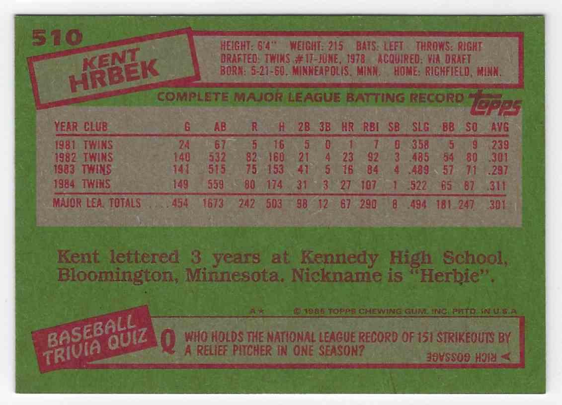 1985 Topps Kent Krbek #510 card back image