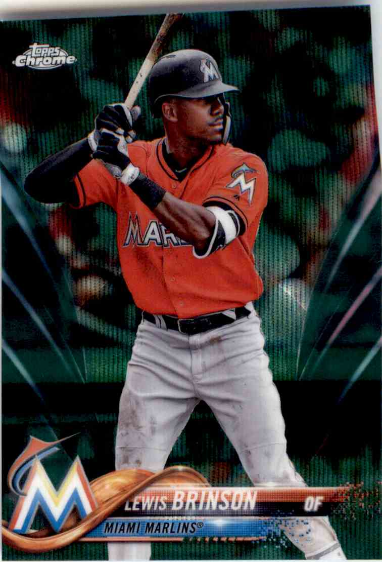 2018 Topps Chrome Green Wave Refractor Lewis Brinson #124 card front image