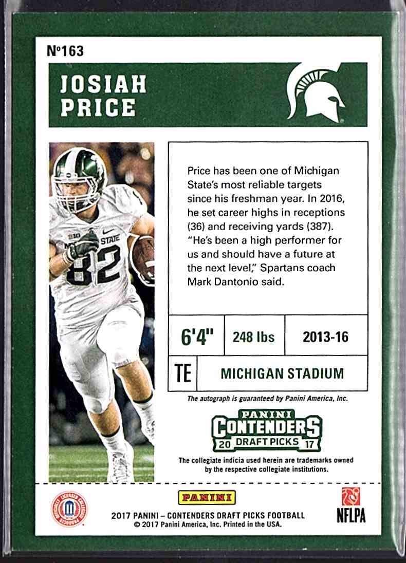 2017 Panini Contenders Draft Picks Josiah Price #163 card back image