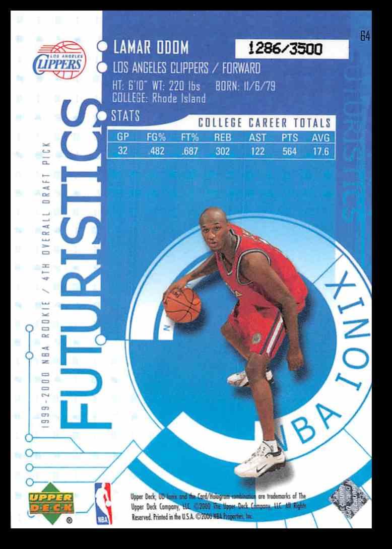 1875819445c9 Real card back image 1999-00 Upper Deck UD Ionix Lamar Odom  64 card back  image