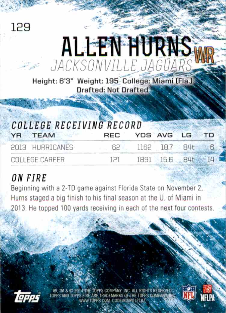 2014 Topps Fire Allen Hurns RC #129 card back image