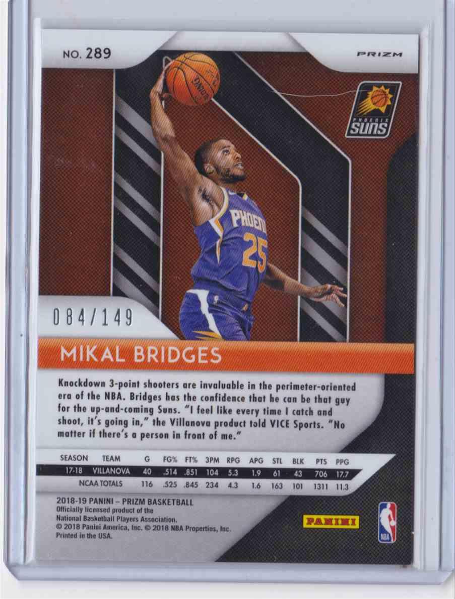 2018-19 Prizm Purple Ice Mikal Bridges #289 on Kronozio