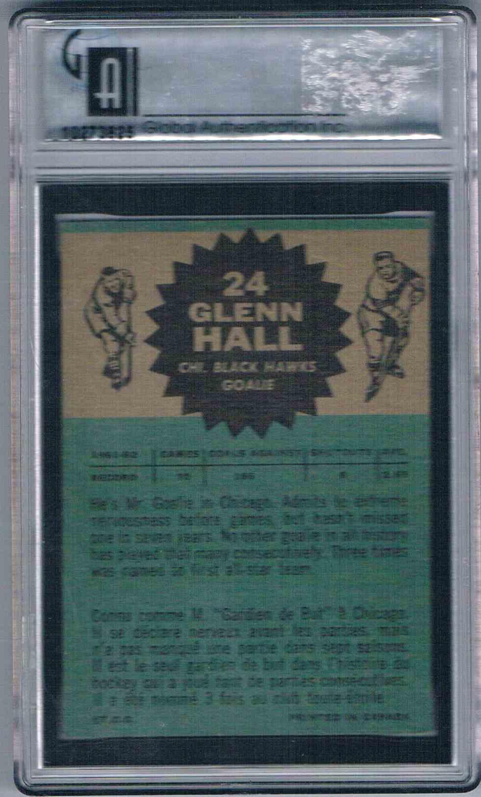 1962-63 Topps Glenn Hall #24 card back image