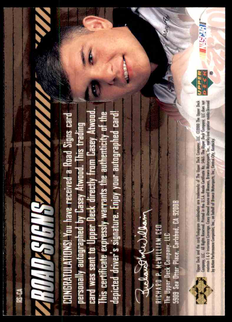 2000 Upper Deck Road Signs Casey Atwood card back image