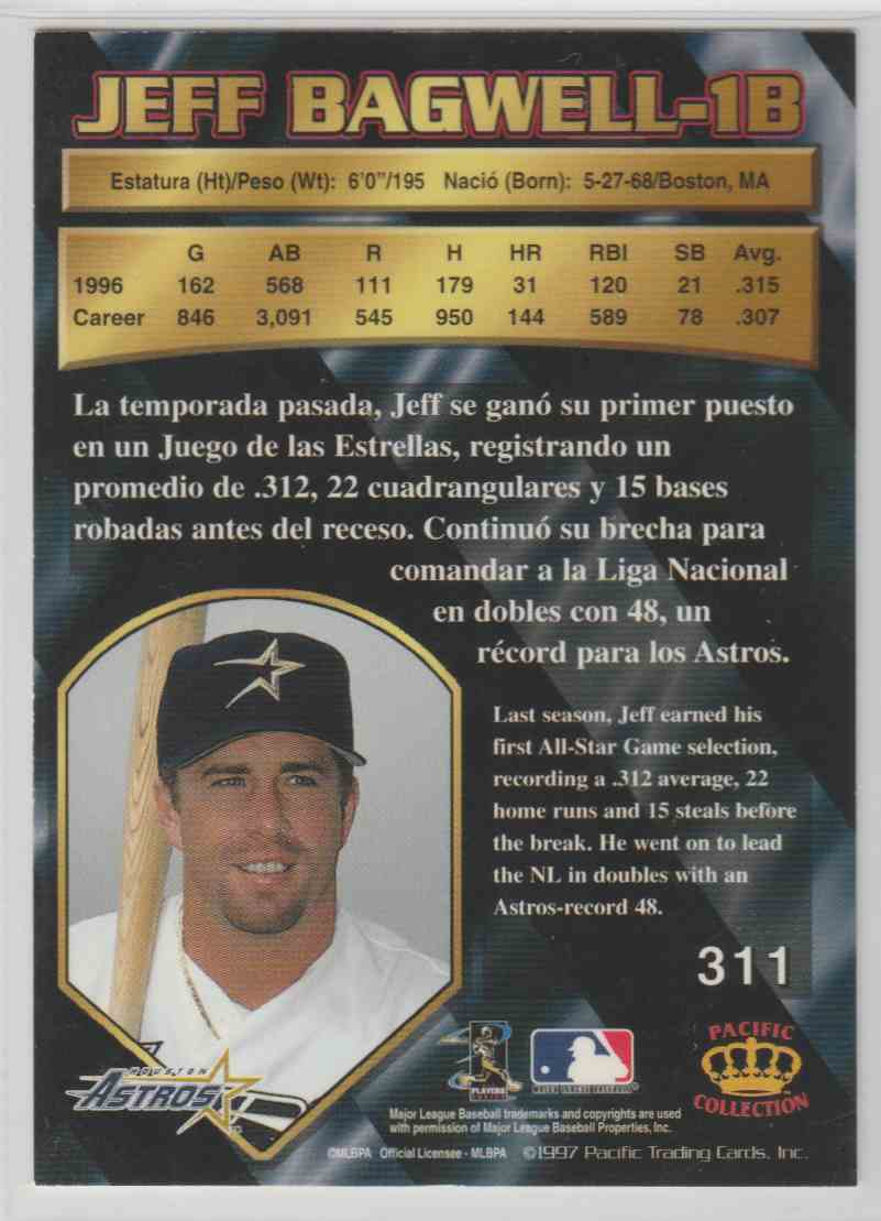 1997 Pacific Crown Collection Jeff Bagwell #311 card back image