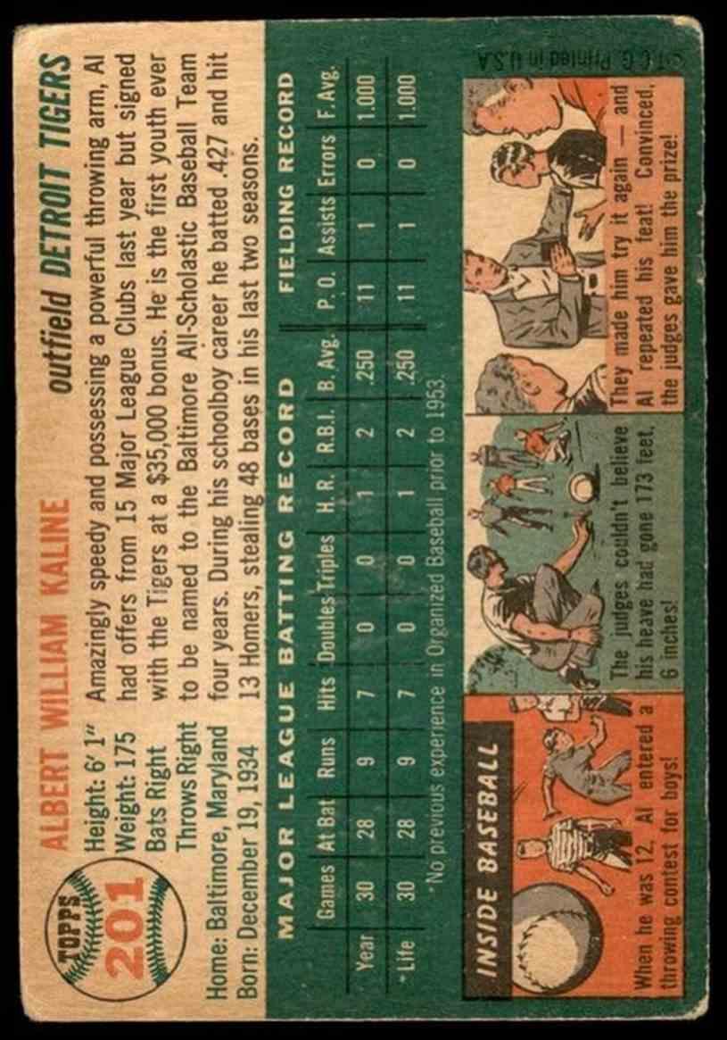 1954 Topps Al Kaline #201 card back image