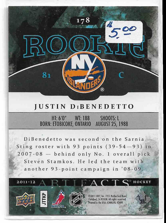 2011-12 Upper Deck Artifacts Justin DiBendetto #178 card back image