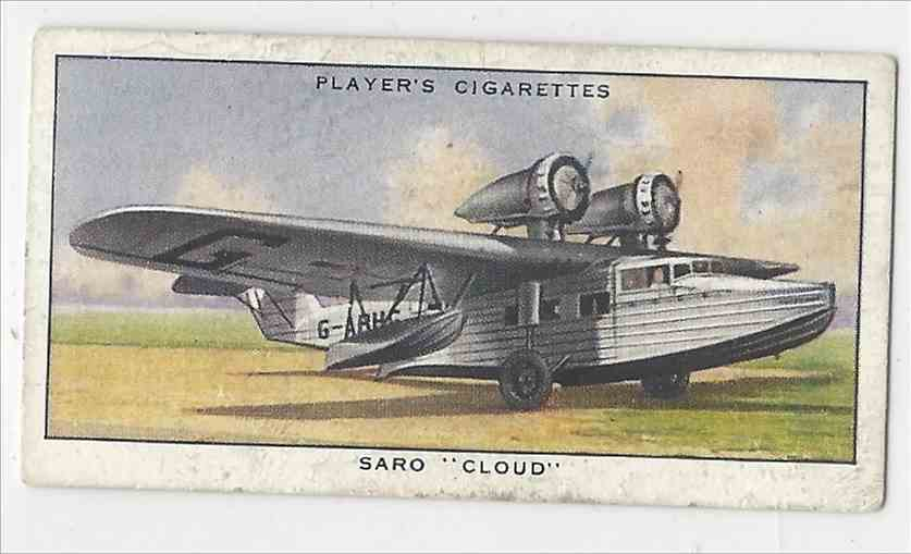 "1935 Player's Aeroplanes Saro ""Cloud: #19 card front image"