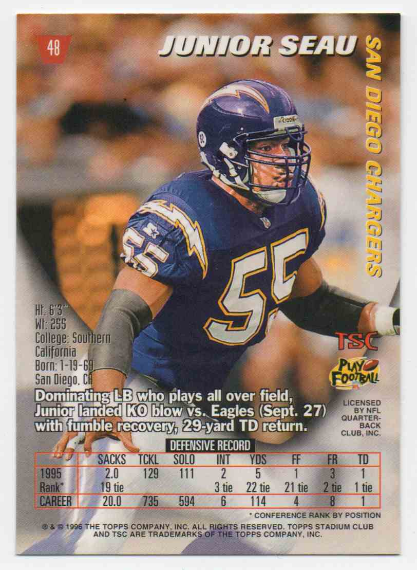 1996 Stadium Club Junior Seau #48 card back image