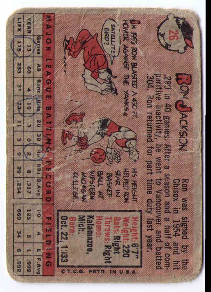 1958 Topps Baseball Card Ron Jackson #26 card back image
