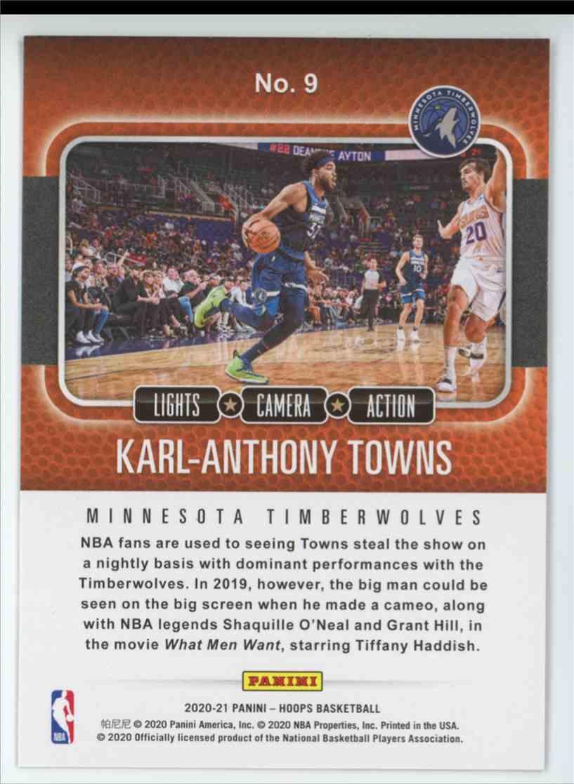 2020-21 Panini Hoops Basketball NBA Hoops Karl-Anthony Towns Lights Camera Action #9 card back image