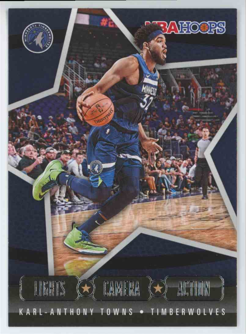 2020-21 Panini Hoops Basketball NBA Hoops Karl-Anthony Towns Lights Camera Action #9 card front image
