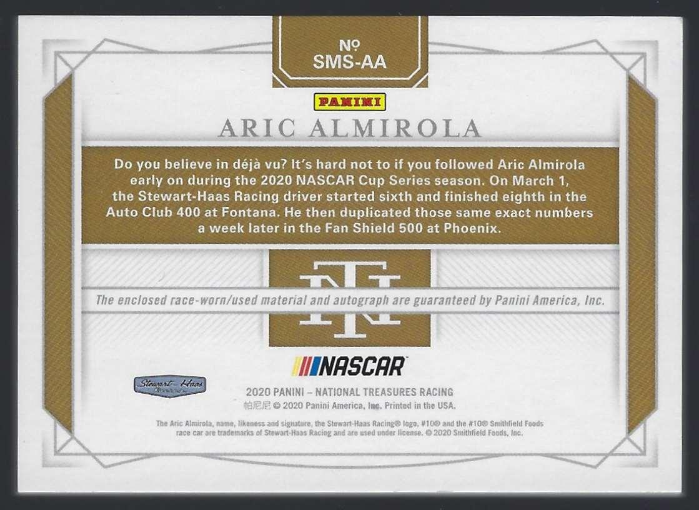 2020 Panini National Treasures Dual Race Gear Graphs Holo Silver Aric Almirola #SMSAA card back image