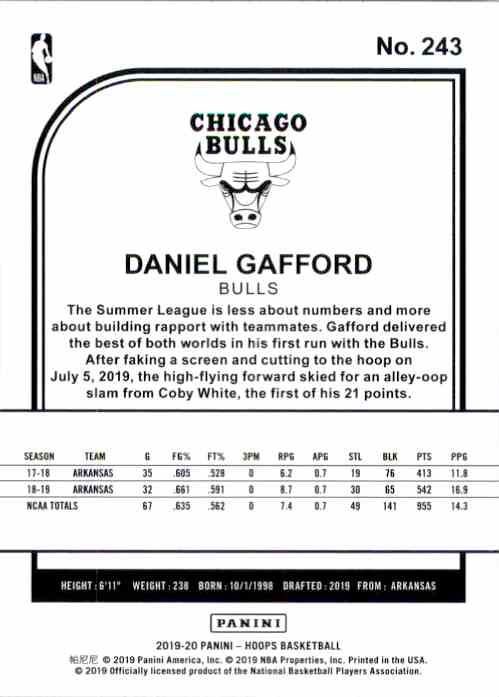 2019-20 Hoops Daniel Gafford RC #243 card back image