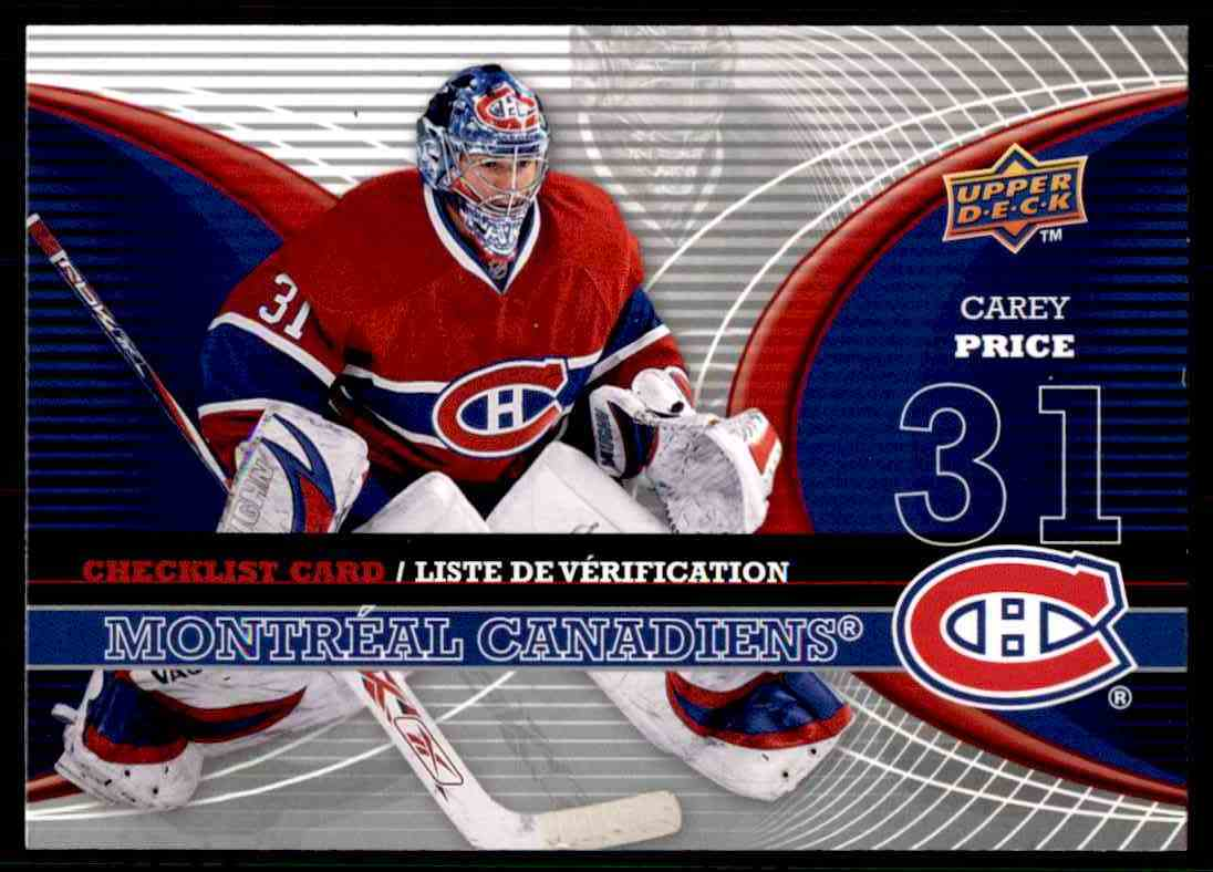 2007-08 Upper Deck McDonald's Checklist Carey Price #CL-MTL card front image