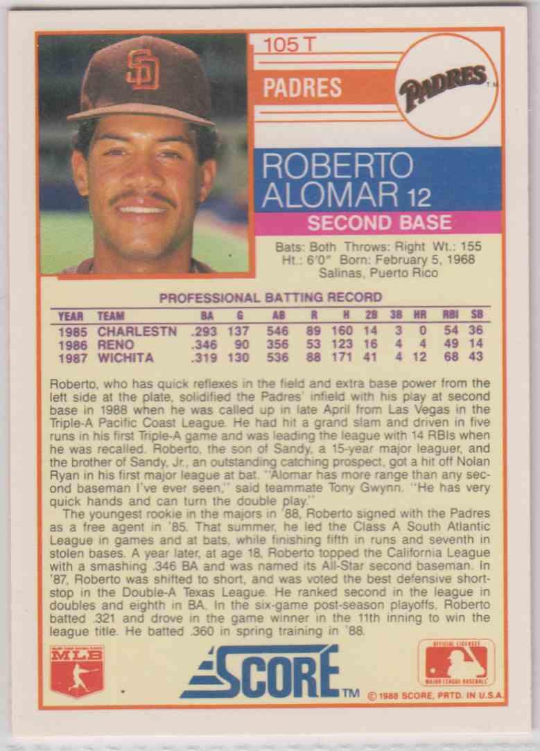 1988 Score Rookietraded Roberto Alomar Xrc 105 On Kronozio