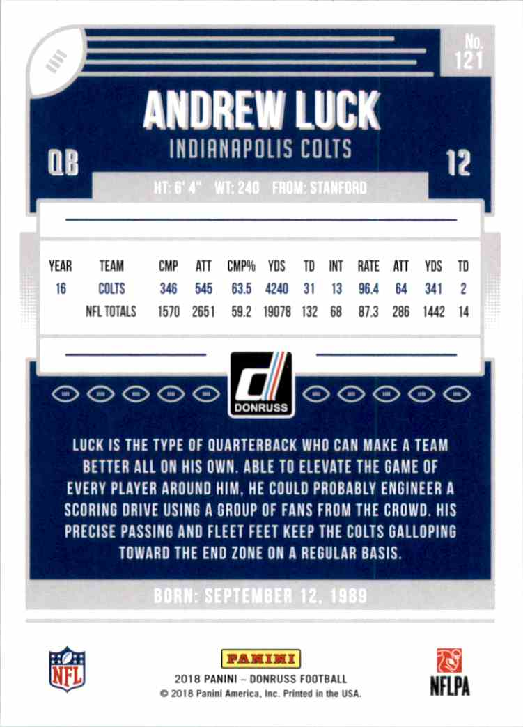 2018 Donruss Andrew Luck #121 card back image