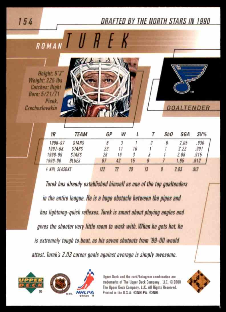 2000-01 Upper Deck Roman Turek #154 card back image